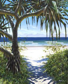 COM art licensing Seascape Paintings, Landscape Paintings, Tropical Paintings, Tree Paintings, Beach Paintings, Landscapes, Surfboard Painting, Beach Quilt, Nz Art