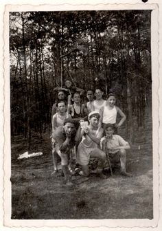 """Herenthals, Belgium, 1939, A photograph of members of the """"Zvi"""" group of Bnei Akiva in a Bnei Akiva camp. The submitter of this material, Curt Dressler, appears in the photograph. He is the only survivor."""