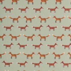 Jan **Öko-Tex Standard 100**, Dekostoff Webware, Füchse, hellgrün