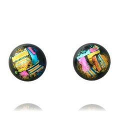 Sterling Silver Dichroic Glass Pink Pattern on Black Stud Earrings Jewelry