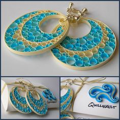 such lovely quilling earings.made by paper quilling. Paper Quilling Earrings, Paper Quilling Patterns, Origami And Quilling, Quilled Paper Art, Quilling Paper Craft, Quilling Craft, Paper Bead Jewelry, Paper Beads, Jewelry Crafts