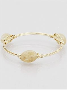 Natural Stone Gold  Memory Wire Wrapped  Bangle Bracelet