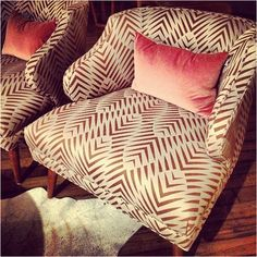 The Studio Blog | DwellStudio's Zebra Geo fabric. Love this fabric for upholstery and home dec projects.