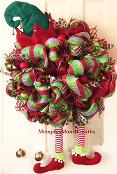 Your place to buy and sell all things handmade Christmas Elf Deco Mesh Wreath Deco Mesh by MemphisMomWreaths Christmas Door Wreaths, Christmas Ribbon, Holiday Wreaths, Holiday Crafts, Winter Wreaths, Spring Wreaths, Christmas Sewing, Summer Wreath, Family Christmas