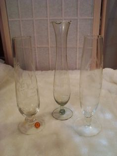 Lot of 3 Vintage Etched Glass Bud/ Bouquet Floral Pedestal Vases