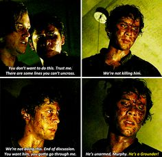 You can see just how much Bellamy has changed since season 1. Clarke has been a good influence on his character.