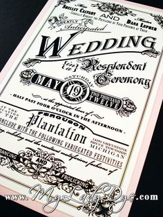Cool old timey invitation style.
