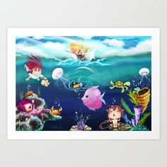 Fun-tastic Ocean by ShillMynara on DeviantArt Art Prints For Home, Fine Art Prints, Framed Prints, Canvas Prints, Ocean Canvas, Presents For Friends, My Themes, Funny Art, Line Art