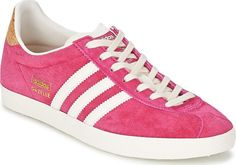 adidas Suede Lace Up Trainers for Women Lace Up Trainers, White And Gold Shoes, Pink White, White Gold, Adidas Originals, Pink Ladies, Adidas Sneakers, Leather