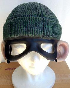 Halloween Burglar Robber Face Mask Vinyl Half-Cap with Green Hat Big Ears Adult