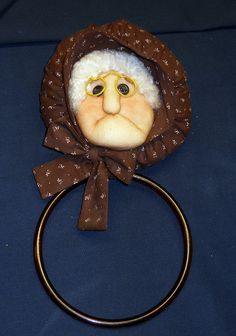 Old Woman with Glass Towel Ring by heronbluevintage on Etsy, $7.00