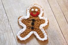 No need to worry about putting on extra weight during the holidays we these calorie-free crocheted gingerbread man cookies! Great as an appliqué, ornament, or holiday decoration. String them together for some gingerbread garland! Or sew two together and stuff with a little poly-fil to make a little stuffed toy. Finished gingerbread man measures approx. …