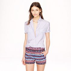 J.Crew - Cotton piqué short in gemstone print Available in my size :D