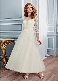 Stunning Tulle Bateau Neckline Ankle Length A-line Wedding Dresses With Lace…