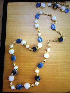 Collana blu cipria e azzurro
