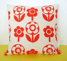 New Scandi Flower Fabric Cushion Pillow by Jane by Janefoster
