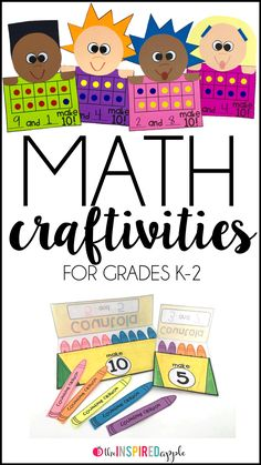 Math crafts are perfect for using with students who are working on number development. Although they are more time consuming than other activities, students can engage in math discussions and share them with families. Math Crafts, Kindergarten Crafts, Math Projects, Kindergarten Lessons, Math Skills, Math Lessons, 1st Grade Math, Second Grade, Grade 2