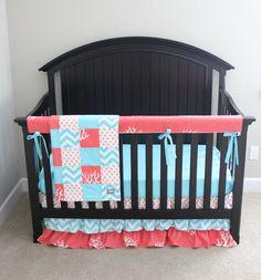 Custom Crib bedding Coral and Aqua Ruffle Skirt by GiggleSixBaby