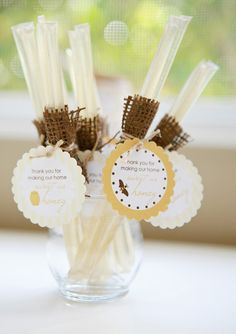 I love the honey sticks. But what do I do with them for a baby shower?