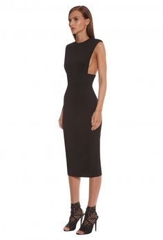 Tanx Cut Away Midi Dress - Black