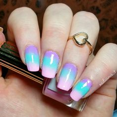 """Gradient using [@flossgloss - """"Lean"""" / """"Wet"""" & """"Perf"""" It's the base for my next nailart which you'll see soon!   #nailart #gradient #flossgloss"""