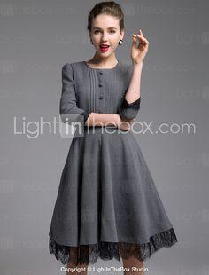 TS VINTAGE Lace Décor Full Swing Dress - USD $ 59.99