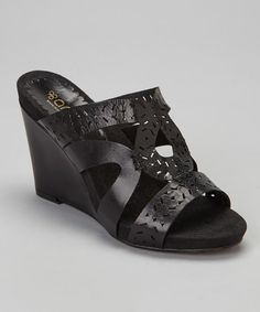 Loving this Black Gloria Leather Wedge Sandal on #zulily! #zulilyfinds