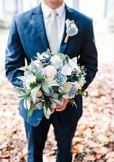 Sola Flower Bouquet  Navy Sage and Dusty Slate Blue Bridal Bouquet Sola
