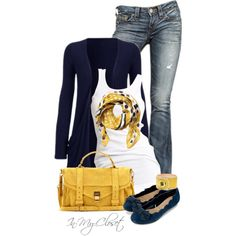 Navy & Yellow. Heart be still. Just look at how the yellow accessories light up this outfit:) Happy times kids:)
