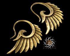 Brass Earrings Brass Hoops Gypsy Earrings Tribal by RONIBIZA