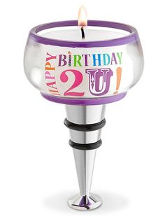 Happy Birthday 2 U! Glass Tealight Bottle Stopper
