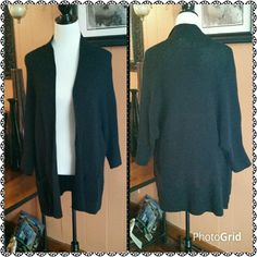 Long black open cardigan sweater New with tag.  Heavy weight open cardigan.  Two front pockets. Sonoma Sweaters Cardigans