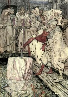 'The romance of King Arthur and his Knights of the Round Table' abridged from Malory's Morte d'Arthur by Alfred W. Pollard. Illustrated by Arthur Rackham. Published 1917 by The Macmillan Company.
