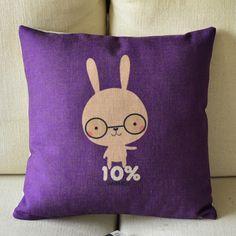 Cute Bunny Print Decorative Pillow