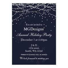lights snow festive Corporate holiday party Invite #christmas #xmas #snowflakes #invitations