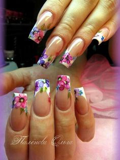 flowers on french manicure Nail Tip Designs, French Nail Designs, Creative Nail Designs, Pretty Nail Designs, Creative Nails, Acrylic Nail Art, Glitter Nail Art, Rasta Nails, Wow Nails