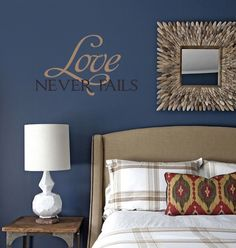 """Love Never Fails"" vinyl wall religious Christian decal home decor quotes"