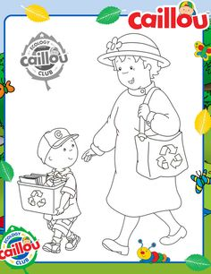 Caillou Earth Month: Let's Recycle Coloring Sheet
