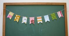 Mini Fabric Flag Garland  Vintage Linens by SparklePower on Etsy, $7.00