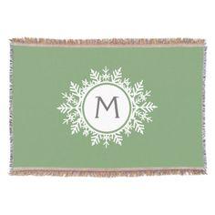 Ornate White Snowflake Monogram on Sage Green Throw Blanket