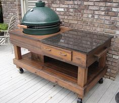 Cypress BBQ Grill or Smoker Work and Serving Table with Drawer For Big Green Egg and Kamado Joe Grills Big Green Egg Outdoor Kitchen, Big Green Egg Table, Diy Outdoor Kitchen, Green Eggs, Outdoor Decor, Outdoor Cooking Area, Kamado Grill, Kamado Joe, Bbq Grill