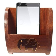 Wooden Mobile Stand Carved with Elephant InlaidGift for Christmas or Birthday to Your Loved Ones