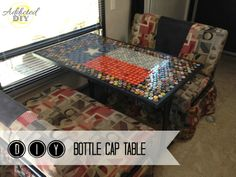 DIY Bottle Cap Table: Addicted 2 DIY - This would make a cute table for the patio Beer Cap Table, Bottle Cap Table, Bottle Cap Art, Diy Bottle, Custom Bottle Caps, Custom Bottles, Bottle Cap Projects, Bottle Cap Crafts, Beer Cap Crafts