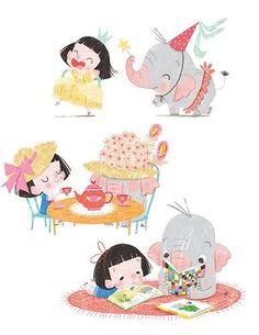 Sara Sanchez Illustration - sara sanchez, sara, sanchez, digital, texture, photoshop, illustrator, trade, commercial, mass market, picture book, ella, elephant, girl, pet, animals, play, costume, tea party, reading