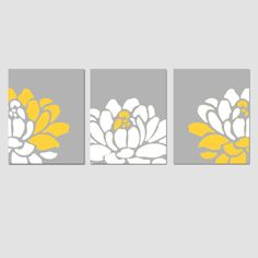 Floral Trio - Set of Three 8x10 Prints - Yellow, Gray, and White - Modern Floral Art