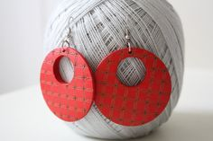 Red Secret Dream Naturally Beauty Wood  Earring by muiwish on Etsy, $4.50