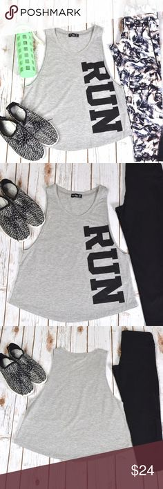 RUN Tank ♀️♀️♀️ Perfect for a run or any workout! 60% cotton. 40% polyester. Tanks are $24 each or 2 for $40! No trades. Tops