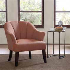This elegant club chair is the perfect fit for style and comfort, the channel back with accented espresso stained, hardwood legs help make a statement for any room. #MadisonParkDreamSpace