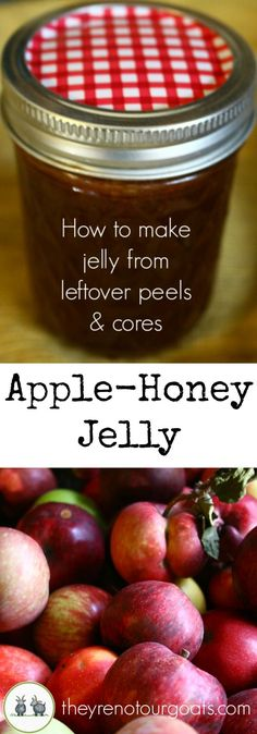 Jelly (Made From Peels & Cores Make delicious jelly with no added sugar or pectin, using only apple peels & cores!Make delicious jelly with no added sugar or pectin, using only apple peels & cores! Jelly Recipes, Real Food Recipes, Yummy Recipes, Recipies, Tupperware, Canning Food Preservation, Preserving Food, Preserving Apples, Canning Apples