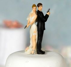 Sexy Spy Wedding Bride and Groom Cake Topper